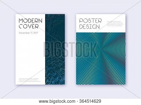Minimal Cover Design Template Set. Red White Blue Abstract Lines On Dark Background. Decent Cover De