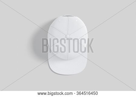 Blank White Jeans Snapback Mockup, Gray Background, 3d Rendering. Empty Denim Snap For Rap Artist St