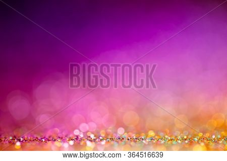 Decoration Bokeh Lights Background, Abstract Shiny Backdrop With Circles, Modern Design Overlay With