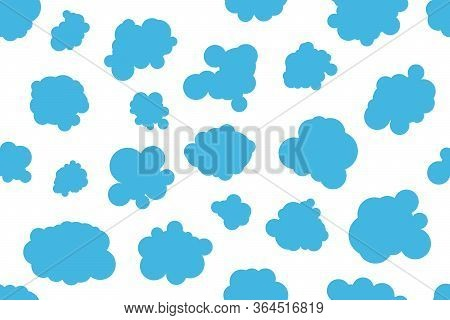 Hand Drawn Clouds White Background, Baby Clouds Seamless Pattern For Textile, Fabric, Sky Cute Vecto