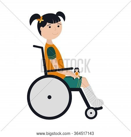 A Girl With Dark Hair And A Broken Leg Is Sitting In A Wheelchair With A Doll In Her Hands. The Leg