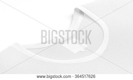 Blank White T-shirt Collar With Square Label Mockup, Side View, 3d Rendering. Empty T Shirt Neck Sym
