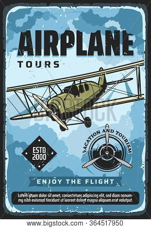 Airplane Flight Tours, Plane Travel And Air Tourism, Vector Vintage Poster. Vacation And Tourism, Ai