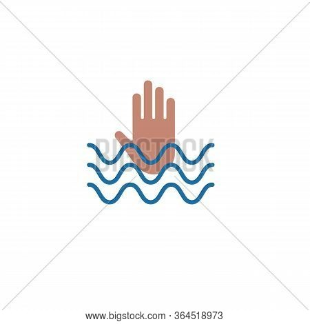 Hand Of Drowning Man Stretched Out From Wave, Flat Icon