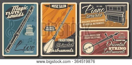 Music Instruments, Musical Store Or Shop Vector Retro Posters. Piano Adjustment And Repair Service,
