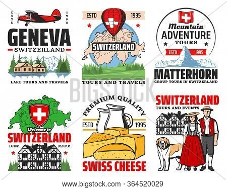 Switzerland Travel To Swiss Alps Mountains Vector Icons. Switzerland Map, Architecture, Culture And