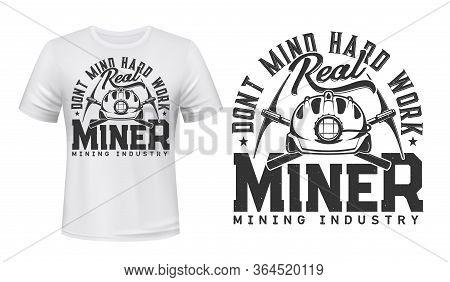 Miner T-shirt Print Mockup, Coal Mining Industry. Miner Work Tools, Crossed Pickaxes Or Mattock Digg