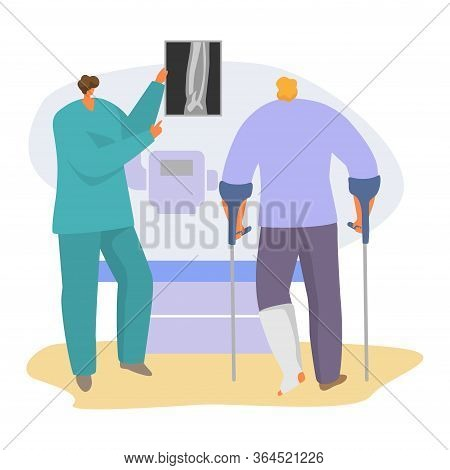 Patient On Doctor Appointment Vector Illustration. Cartoon Traumatologist Character Analyzing And Sh