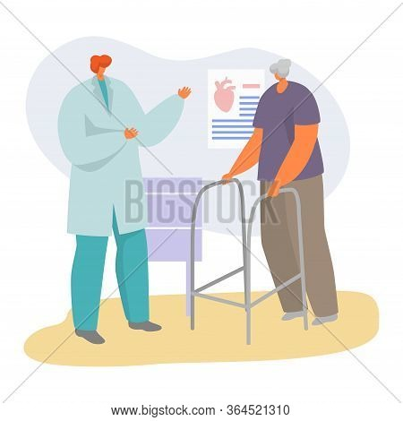Patient On Doctor Appointment Vector Illustration. Cartoon Flat Senior Character Visiting Cardiologi