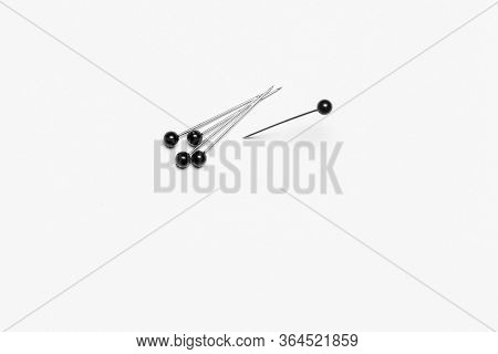 Group Of Pushpins Isolated Over White Background