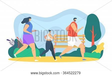 People Runners Jogging Vector Illustration. Cartoon Flat Father, Mother And Daughter Child Character