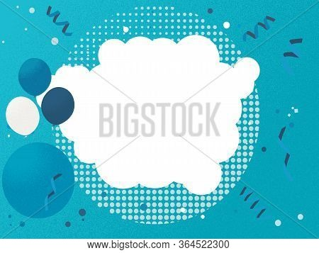 Blue With Grain Texture Kids Blank Copy Space Invite Card With Balloons