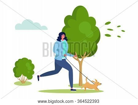 Active Sports People Vector Illustration. Cartoon Happy Flat Woman Character Running, Have Fun With