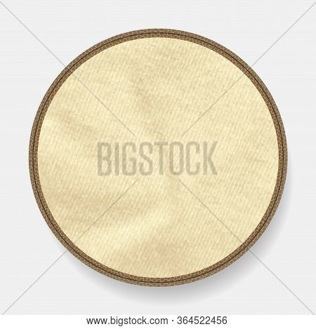 Circular Leather Border With Blank Copy Space Crumbled Material Over White Background With Shadow