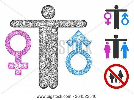 Mesh Bisexual Man Polygonal Web Icon Vector Illustration. Model Is Created From Bisexual Man Flat Ic