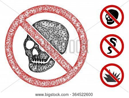 Mesh No Skeleton Skull Polygonal Web Icon Vector Illustration. Abstraction Is Based On No Skeleton S
