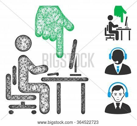 Mesh Office Use Polygonal Web Icon Vector Illustration. Model Is Based On Office Use Flat Icon. Tria