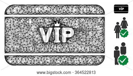 Mesh Vip Access Card Polygonal Web Icon Vector Illustration. Abstraction Is Based On Vip Access Card