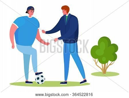 Active Sports People Vector Illustration. Cartoon Flat Happy Man Characters Training On Football Gre