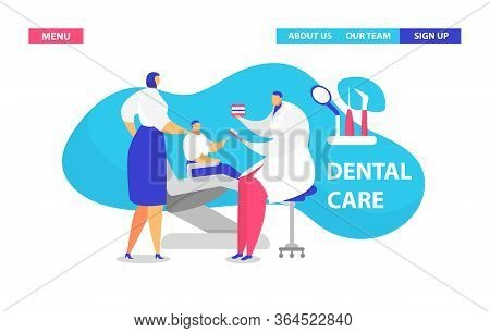 Visit Dentist Vector Illustration. Cartoon Flat Landing Page Design Template For Medical Clinic Stom