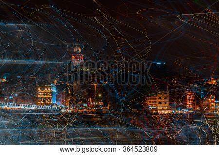 Abstract Experimental Surreal Photo , Long Exposure, Photo Of City Lights At Night. Istanbul Night L