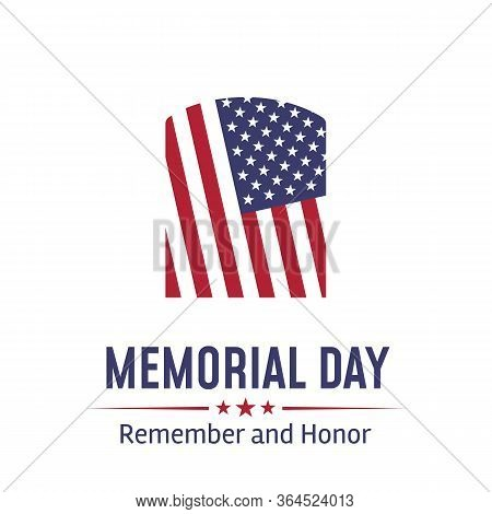 Memorial Day In Usa With Lettering Remember And Honor. Holiday Of Memory And Honor Of Soldiers, Mili