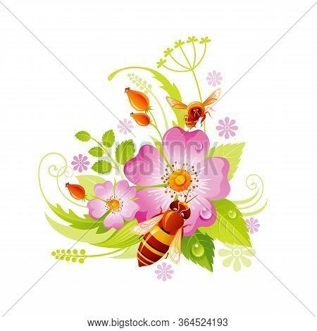 Spring Flower Icon. Rose Hip Floral Symbol With Leaf, Grass, Honeybee. Summer Natural Vector Illustr