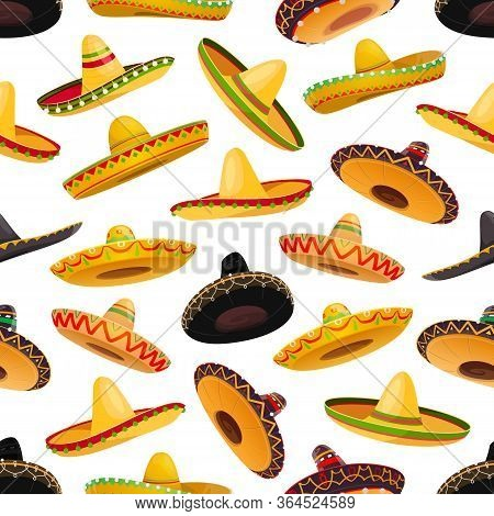 Sombrero Hats Seamless Pattern. Vector Background Of Mexican Fiesta Party And Cinco De Mayo Holiday