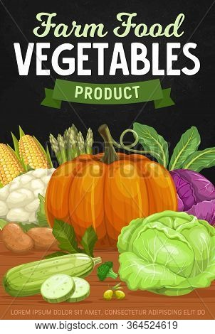 Vegetables Fresh Food Harvest, Vector Farm Market Veggies Poster. Bio Vegetables Pumpkin, Corn And Z