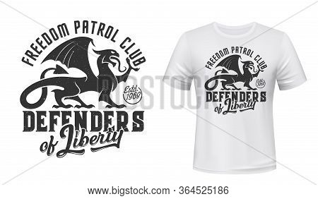 Griffin T-shirt Print Mockup, Defender Patrol Club Sign. Gothic Griffon Or Gryphon Creature With Def
