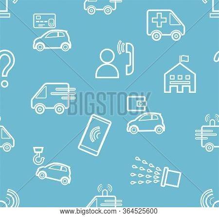 Emergency Services, Seamless Pattern, Contour Pattern, Blue, Monochrome, Flat, Vector. Fine Outline