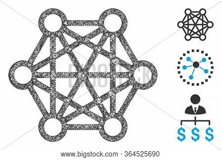 Mesh Network Connections Polygonal Web Icon Vector Illustration. Model Is Based On Network Connectio
