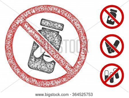 Mesh No Chemical Drugs Polygonal Web Icon Vector Illustration. Abstraction Is Based On No Chemical D
