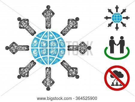 Mesh Planetary Society Polygonal Web Symbol Vector Illustration. Carcass Model Is Based On Planetary