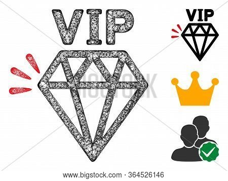 Mesh Vip Brand Polygonal Web Icon Vector Illustration. Carcass Model Is Based On Vip Brand Flat Icon