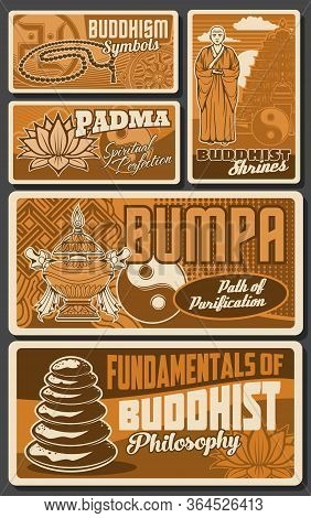 Buddhism Posters, Buddha Temples, Buddhist Monk And Zen Mediation Vector Symbols. Buddhism Religion