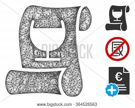Mesh Original Receipt Polygonal Web Symbol Vector Illustration. Carcass Model Is Based On Original R