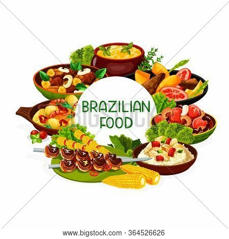 Brazilian Food Cuisine, Brazil Meat And Fish Dishes Vector Menu. Brazilian Cuisine Food Meals Churra
