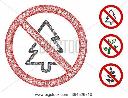Mesh No Fir-tree Polygonal Web Icon Vector Illustration. Model Is Based On No Fir-tree Flat Icon. Tr