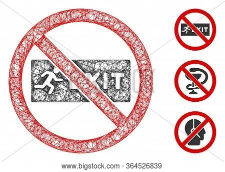 Mesh No Exit Polygonal Web 2d Vector Illustration. Carcass Model Is Based On No Exit Flat Icon. Tria