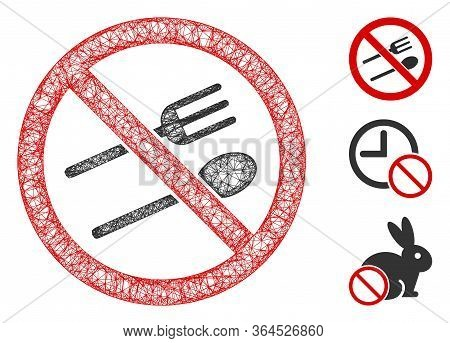Mesh No Eating Polygonal Web Icon Vector Illustration. Abstraction Is Based On No Eating Flat Icon.