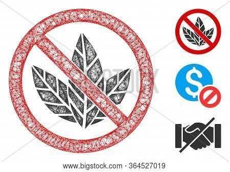 Mesh No Tobacco Polygonal Web Symbol Vector Illustration. Carcass Model Is Based On No Tobacco Flat