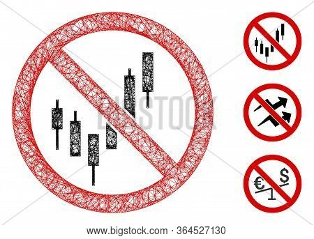 Mesh No Candlestick Chart Polygonal Web Icon Vector Illustration. Model Is Based On No Candlestick C