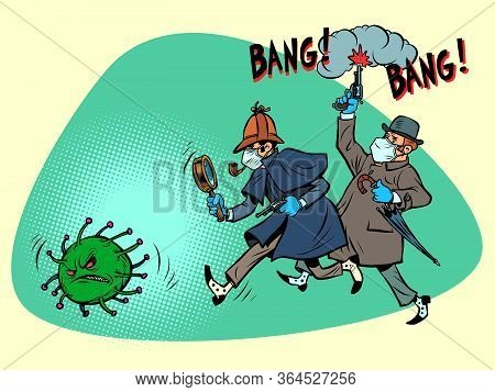 England Victory Over Coronavirus Epidemic Covid19 Concept. Sherlock Holmes And Dr. Watson Catch The