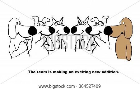 Cartoon Of Dog Team Members Applauding Their New Member.