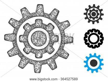 Mesh Inner Gear Polygonal Web Symbol Vector Illustration. Model Is Based On Inner Gear Flat Icon. Tr