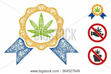 Mesh Cannabis Legalize Polygonal Web Icon Vector Illustration. Carcass Model Is Based On Cannabis Le