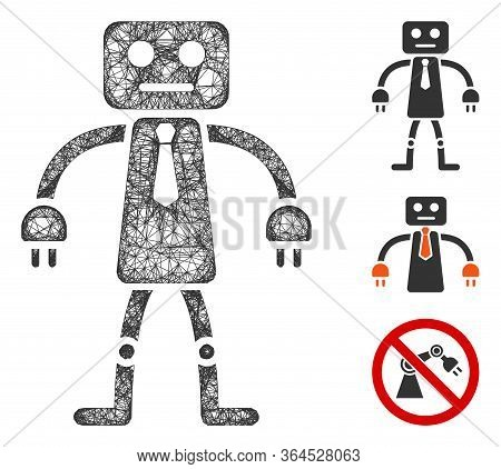 Mesh Official Robot Polygonal Web Icon Vector Illustration. Carcass Model Is Based On Official Robot