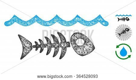 Mesh Water Pollution Polygonal Web 2d Vector Illustration. Carcass Model Is Based On Water Pollution