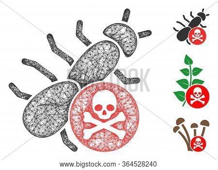 Mesh Pesticide Polygonal Web 2d Vector Illustration. Model Is Based On Pesticide Flat Icon. Triangul